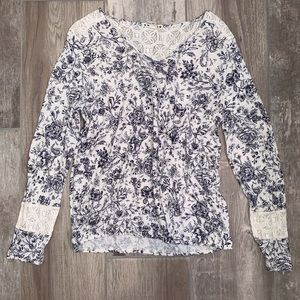 RUFF HEWN Ivory Floral Long Sleeve Lace Detail Top